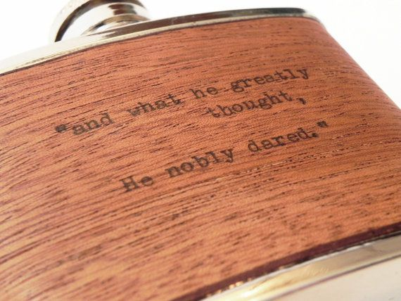"""Typewritten Wood Flask - Real Wood real Typewriter """"And What He Greatly Thought He Nobly Dared"""" Homer Quote Greek Greece Republic by ResoluteStar"""