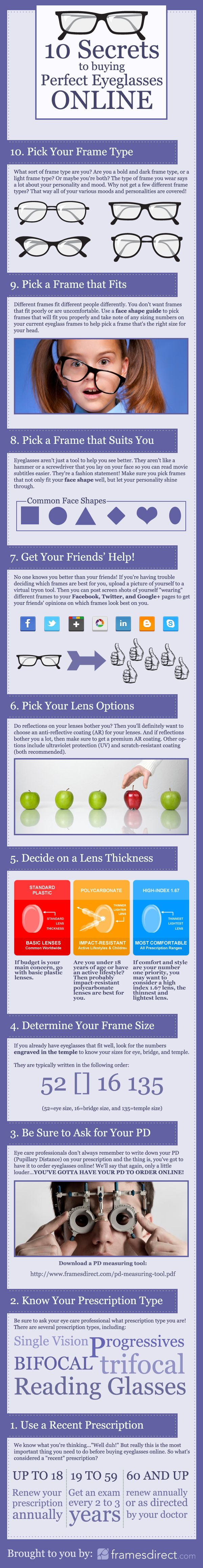 10 Secrets to Buying Perfect Eyeglasses Online Infographic #eyeglasses #infographic