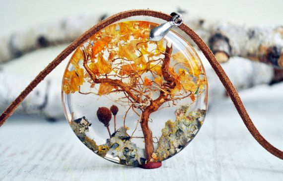 resin necklace  resin pendant terrarium necklace  eco by VyTvir