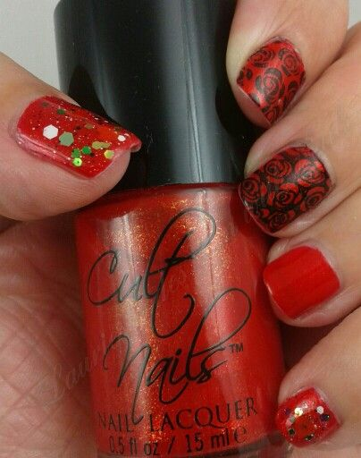 Golden Oldie Thursday #23: Red. I chose Cult Nails Annalicious and topped it with Red Dog Designs Hey! Jealous Lover. I used a MoyouLondon plate and  a-england Camelot for the rose stamp.