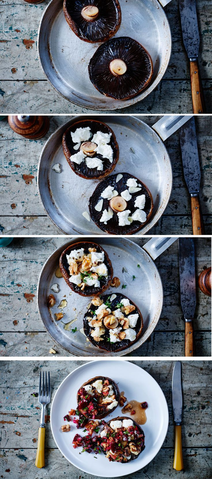Make an easy, luxurious brunch for 2 with these grilled mushrooms with goats' cheese, walnuts and beetroot salsa.