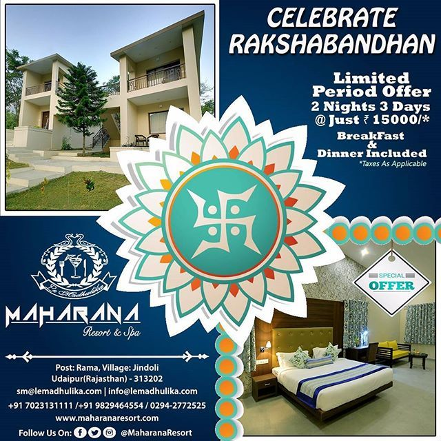 Rakshabandhan - A Joyous Occasion to celebrate the bond of love of a brother and sister. Gift your adorable sister a lovely holiday in the City of Lakes - Udaipur. Don't miss this chance to surprise her. Book Now!!!! #Rakshabandhan #brother #sister #brothersisterlove #love #traveldestination #traveldiary #travels #travel #holidaygoals #holiday #holidays #holidayseason #holidaydestination #naturephotography #traveldiary #travelblogger #travelphotography #traveldairies #rajasthantrip…
