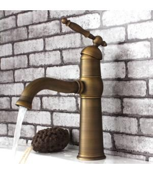 Single Lever Handle Antique Brass Bathroom Faucet 115F