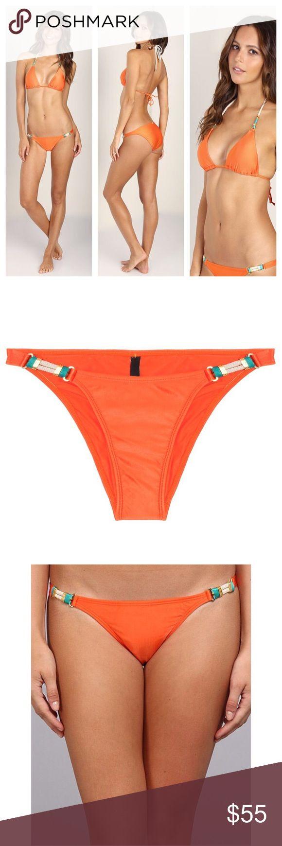 ViX Orange Rope Detail Brazilian Bikini Bottom M New with tags and hygienic liner. Size medium. Gorgeous rope detail and turquoise thread. Brazilian cut. Bottom only Vix Swim Bikinis