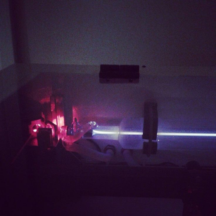My laser, Calcifer, hard at work at nighttime.