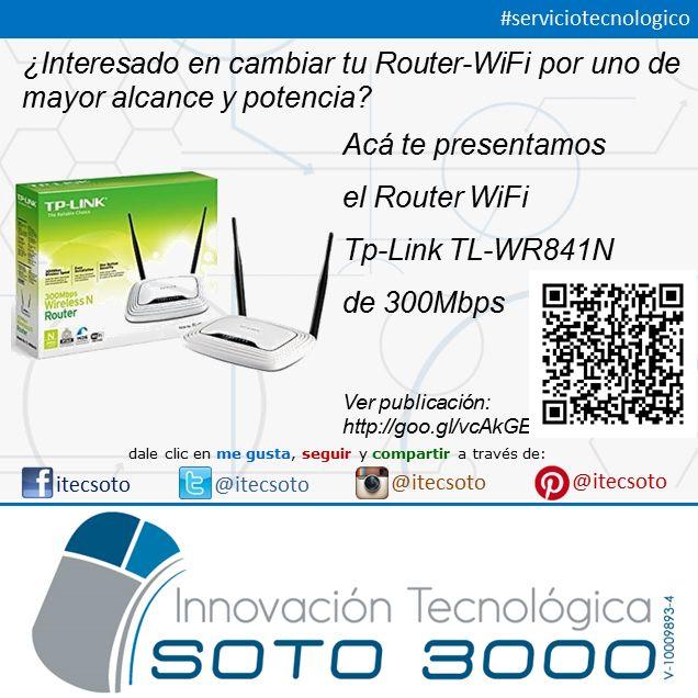 Tenemos disponible los router-wifi TP-Link que transmiten a 300Mbps para que disfrutes de una conectividad en tu hogar u oficina como la que tu te mereces...  Para ver detalles del producto accede la siguiente dirección http://goo.gl/vcAkGE o escanéa el código QR de la publicación  Contáctanos: itecsoto@gmail.com #itecsoto #eStrategy #serviciotecnologico #RouterWiFi #WiFi #facebook #twitter #instagram #pinterest #solucionestecnologicas #serviciotecnologico