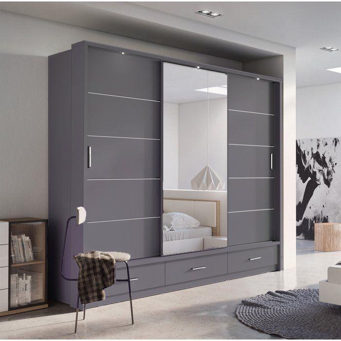 17 Stories Rolando 3 Door Sliding Wardrobe Wayfair Co Uk Wardrobe Design Bedroom Bedroom Closet Design Wall Wardrobe Design