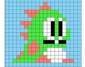 Instant Download - Bubble Bobble Perler Bead Sprite Pattern - Pattern Only - Nintendo NES Video Game Dragon Bub Bob Cute Kawaii Dinosaur