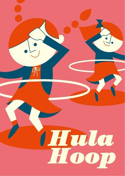 Cozy Tomato - Hula Hoop  Tiphaine-illustration  #retro #hulahoop #kid