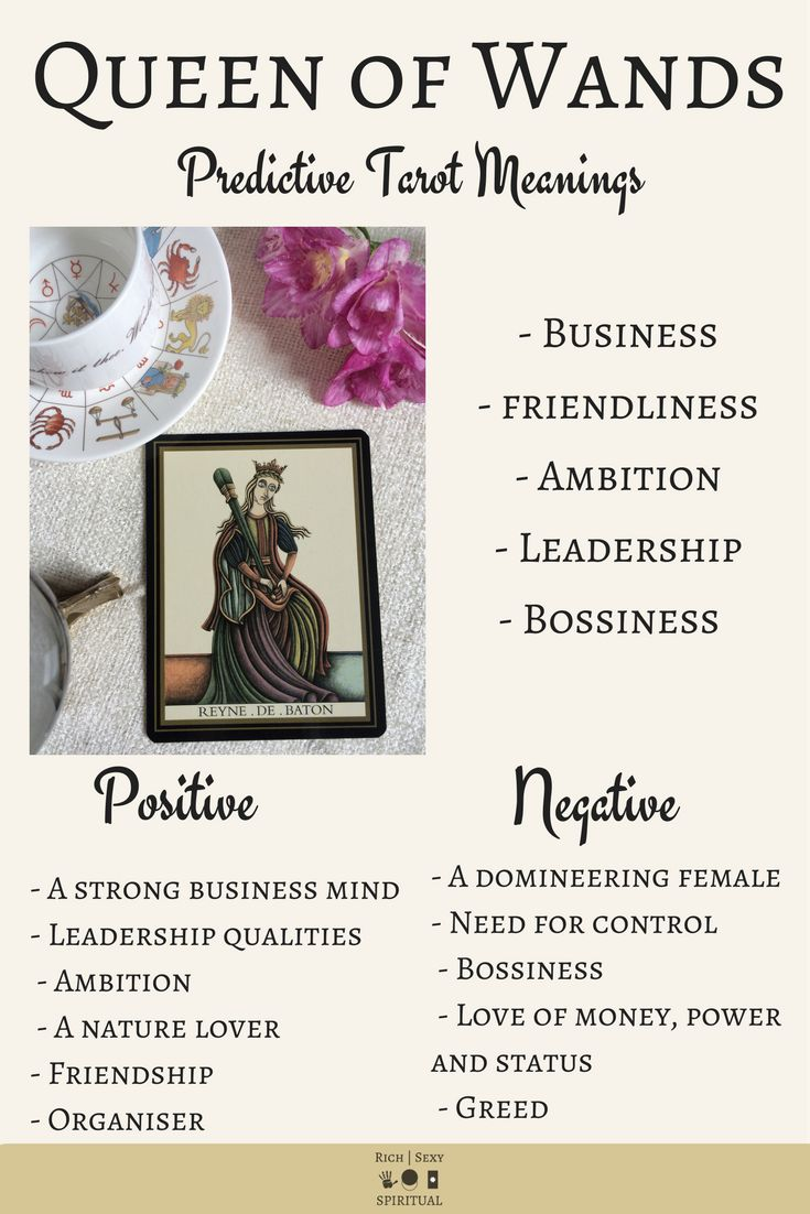 In a Tarot card reading, the Queen of Wands in a spread can be a symbol of business, leadership and bossiness. This post includes a vintage and modern fortune telling meanings of the Queen of Wands, ideal for the advanced reader or those just learning the cards. These interpretations can be used with any of the decks (Rider Waite, Marseilles etc). Cards in this post are from the Tarot Noir Deck.