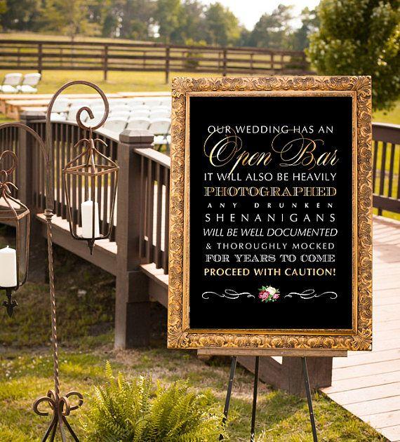 Open Bar Wedding Sign, Printable Wedding Sign, Shenanigans Sign, Funny Wedding Sign, Bar Wedding Sign, Chalkboard Wedding, Gold Bar Sign