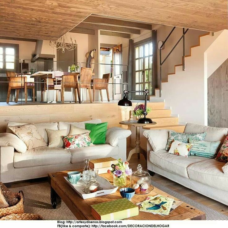 Ambientes con desnivel cocina comedor living integrados for Salones integrados cocina