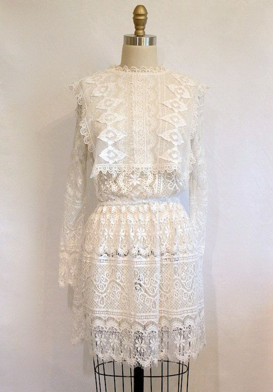 Hippie Wedding Dress 1970s Style Short Length by ifanhour on Etsy, $78.00