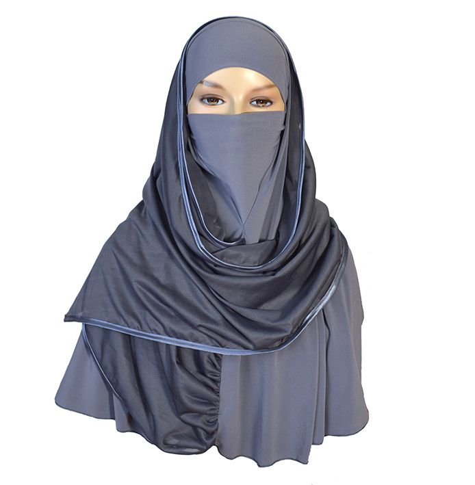 Extra large Kuwaiti hijab that can cover the face and chin in needed.