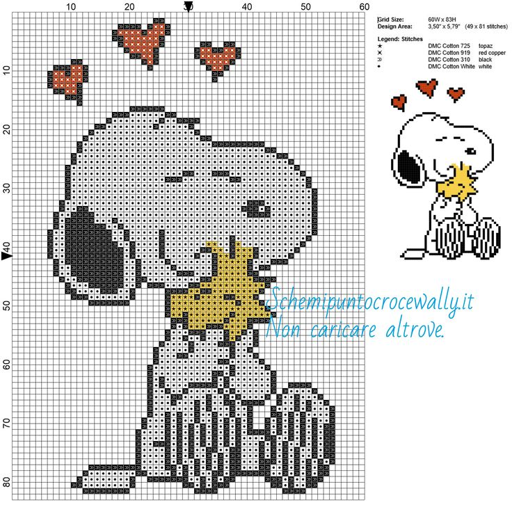 Snoopy e Woodstock schemi gratis a punto croce 60x83 4 colori