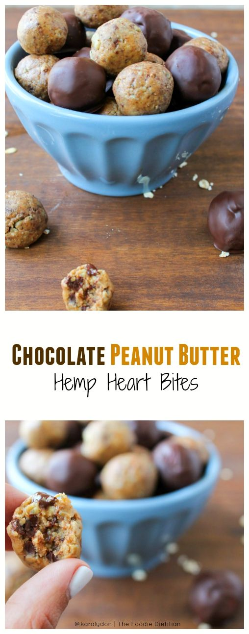 These Chocolate Peanut Butter Hemp Heart Bites taste like chocolate chip peanut butter cookie dough but are wayyyy better for you. Your back-to-school snack prayers have been answered.: