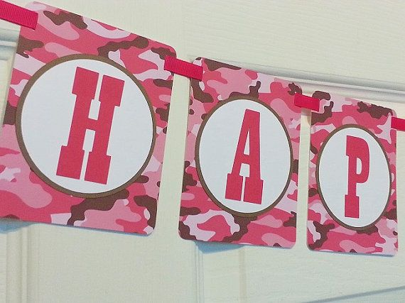 Pink Camo - Party Collection - Custom Paper Party Banner - Happy Birthday - Welcome Home Banner - Bridal Shower