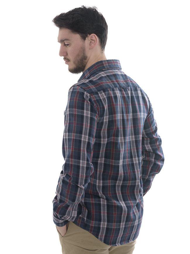 f54c695920ae Ανδρικό καρό μακρυμάνικο πουκάμισο 157 σε μπλε απόχρωση με κόκκινες ρίγες.