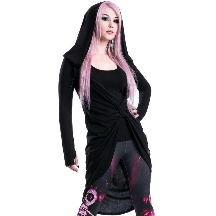 Vent lang cardigan vest met grote capuchon zwart - Gothic