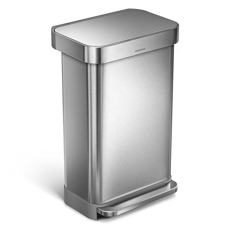 Amazon.com: simplehuman 45L Rectangular Step Trash Can with Liner Pocket, Nano-Silver Clear Coat Brushed Stainless Steel, 45 Liter / 11.9 Gallon: Home & Kitchen
