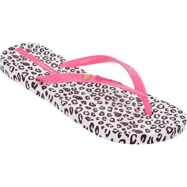 Ipanema Flip-flops - Ipanema Animal Print Fem White/pink/purple ($28) ❤ liked on Polyvore featuring shoes, sandals, flip flops, white, ipanema, white sandals, purple shoes, white shoes and animal print shoes