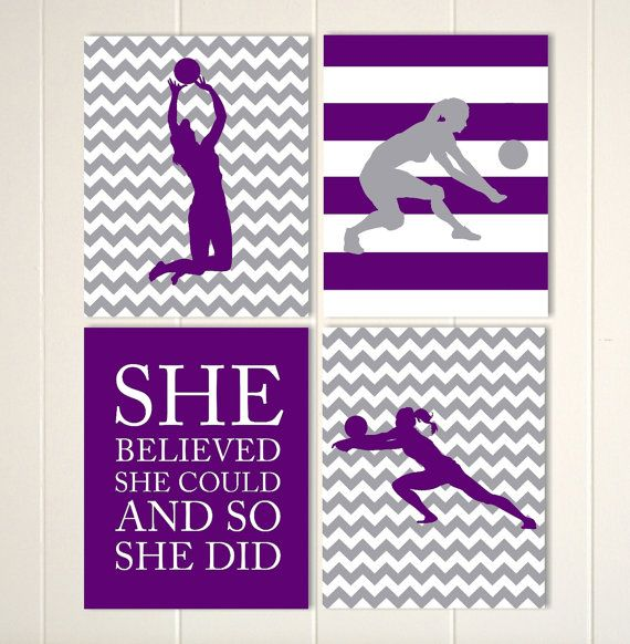 Girls volleyball wall art, volleyball room decor, spots quotes wall art, she believed she could, girls wall art, custom colors and sports by PicabooArtStudio