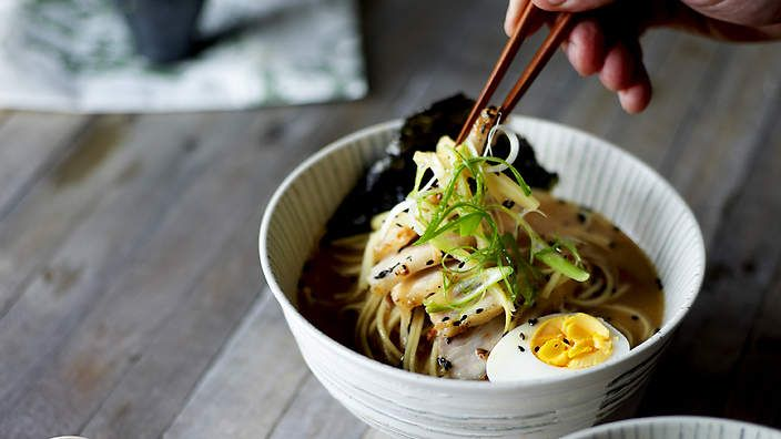 Tonkotsu ramen | The stock for this famous Japanese noodle soup is made from pork bones, which are boiled for hours, breaking down the collagen, marrow and fat, unleashing a creamy, white liquid. Traditionally, the eggs are boiled in the stock; add in step 3 of the recipe with the flavourings if cooking this way. You can make the stock up to the end of step 1 a day ahead.