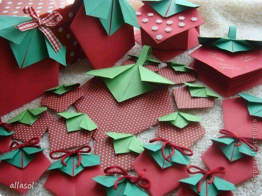 Поделка изделие Оригами Клубничное настроение Схема и идеи по использованию  Бумага Бусины Ленты фото 1