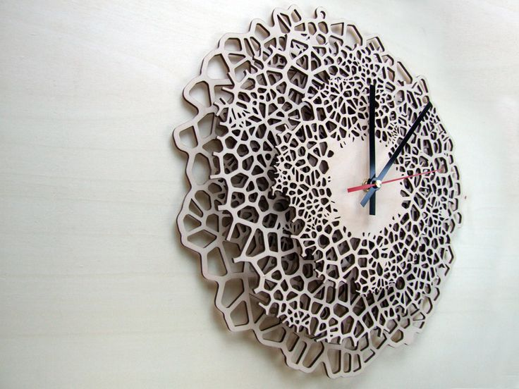 Giraffe clock - LARGE - laser cut wood - modern wall clock - voronoi pattern - wooden wall clock. €150.00, via Etsy.