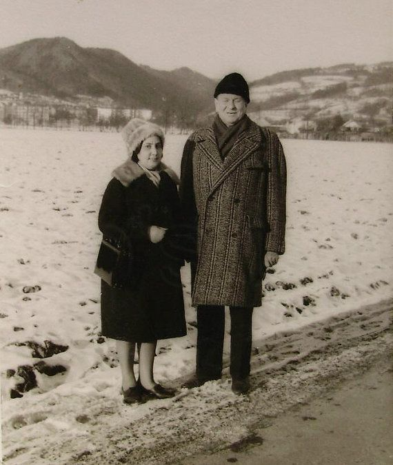 1960's Photograph  Old Couple in the Snow by LoosLoft on Etsy, $3.50