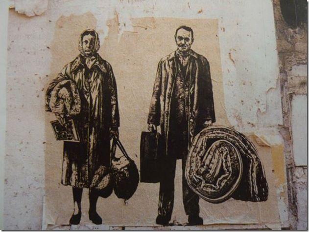 Ernest Pignon Ernest - Art Urbain - Les expulsés - 1977-79 Paris