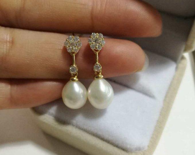 pendientes pendientes de perlas de agua dulce, la perla, pendientes de perlas, de Dama de honor de pendientes de perlas, diamantes de imitación de novia pendientes de perla de la boda