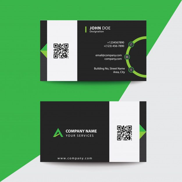 Clean Flat Design Green And Black Corporate Business Visiting Card