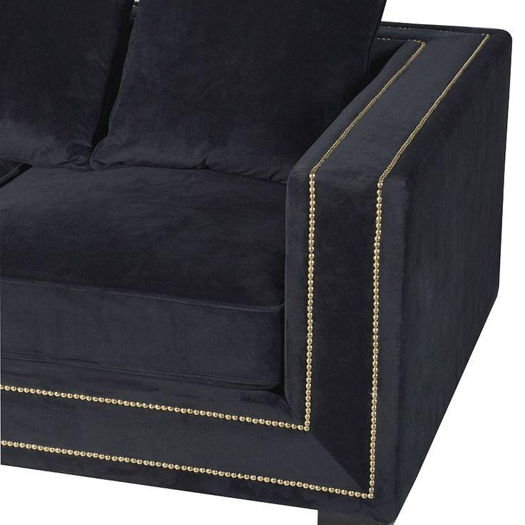Art Deco Black velvet sofa, arm frame detailing. £1299.99