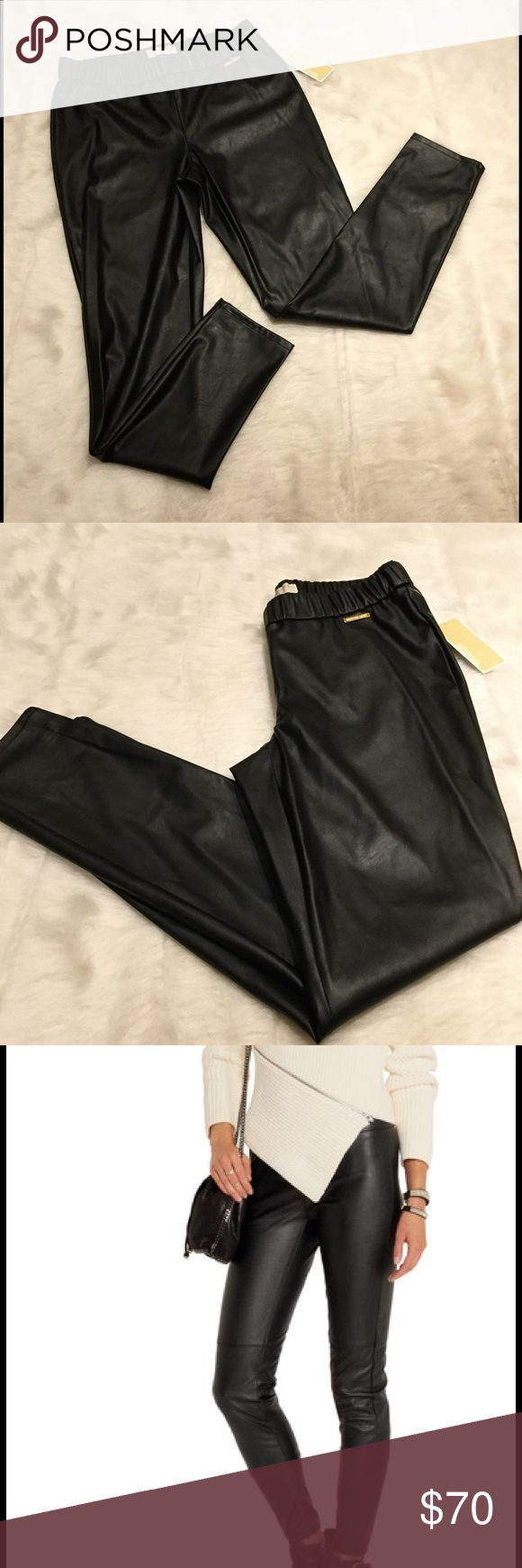 NWT Michael Kors Faux Leather Leggings Awesome faux leather leggings by Michael Michael Kors.  Elastic waistline and gold engraved brand plate at left hip. MICHAEL Michael Kors Pants Leggings