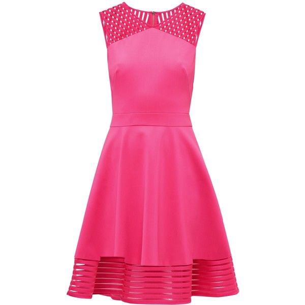 Ted Baker Eleese Mesh Stripe Skater Dress ($95) ❤ liked on Polyvore featuring dresses, sale women dresses, sheer dress, ted baker dresses, v neck dress, pink fit-and-flare dresses and fit and flare dress