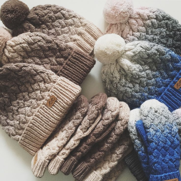 Knitted hats and mittens