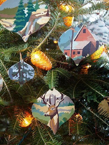 Download our ornament template to make these paint-by-numbers crafts! http://www.countryliving.com/homes/house-tours/serena-thompson-christmas-decorating-ideas#slide-3
