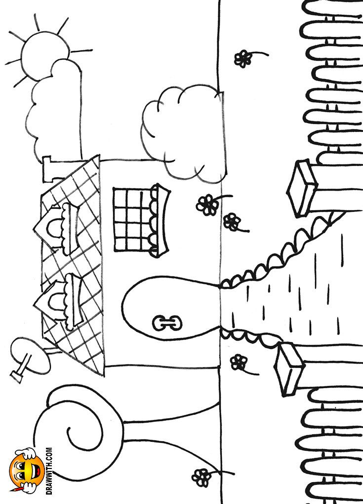 Free house with gate coloring page for kids which includes a color along video tutorial