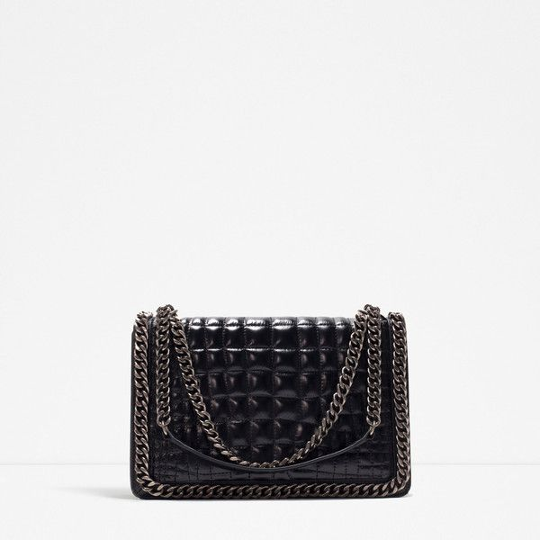 Zara Chain City Bag (£125) ❤ liked on Polyvore featuring bags, handbags, black, chain strap handbag, genuine leather purse, leather bags, chain strap bag and chain handbags