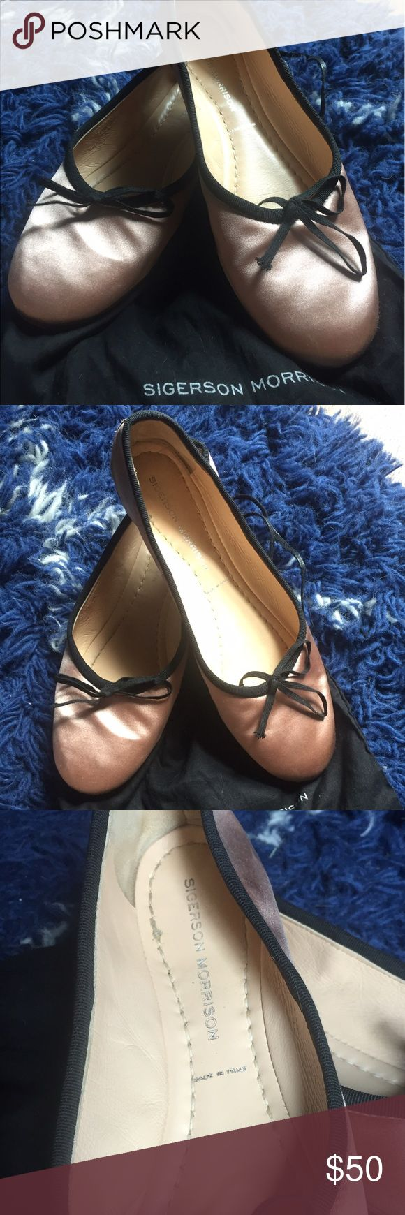 Sigerson Morrison ballet flats, size 7.5 Sigerson Morrison ballet flats, size 7.5, light pink silk with black bows and trim. Dust bag included. Perfect to put in your purse for when your heels get too painful! Sigerson Morrison Shoes Flats & Loafers
