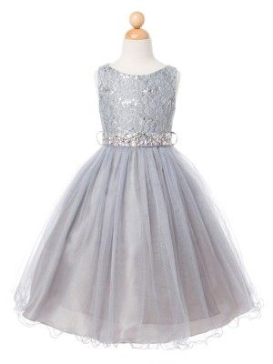 Silver Lace Bodice with Tulle Skirt Flower Girl Dress (Available in Sizes 2-14 in 7 Colors)