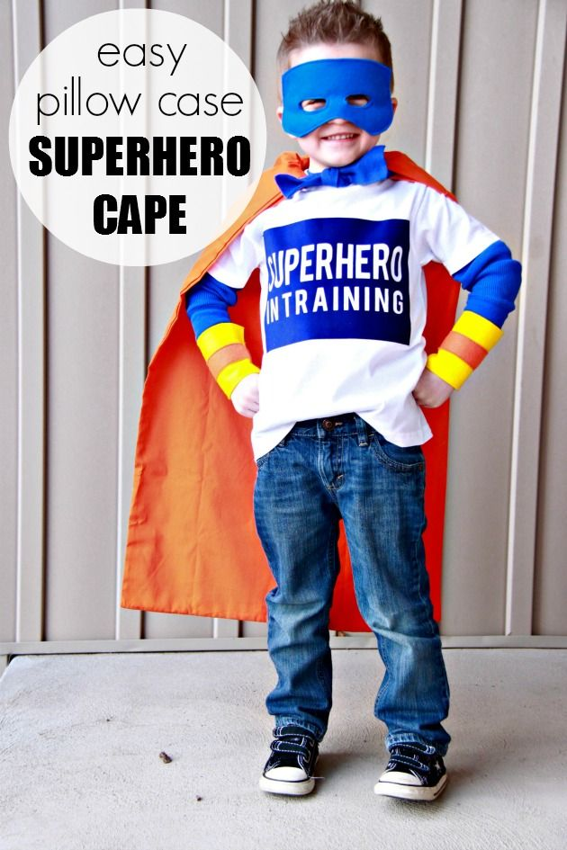 Easy Pillow Case Super Hero Cape- step by step tutorial to make this cute cape for your little super hero.  This would make a great gift too!