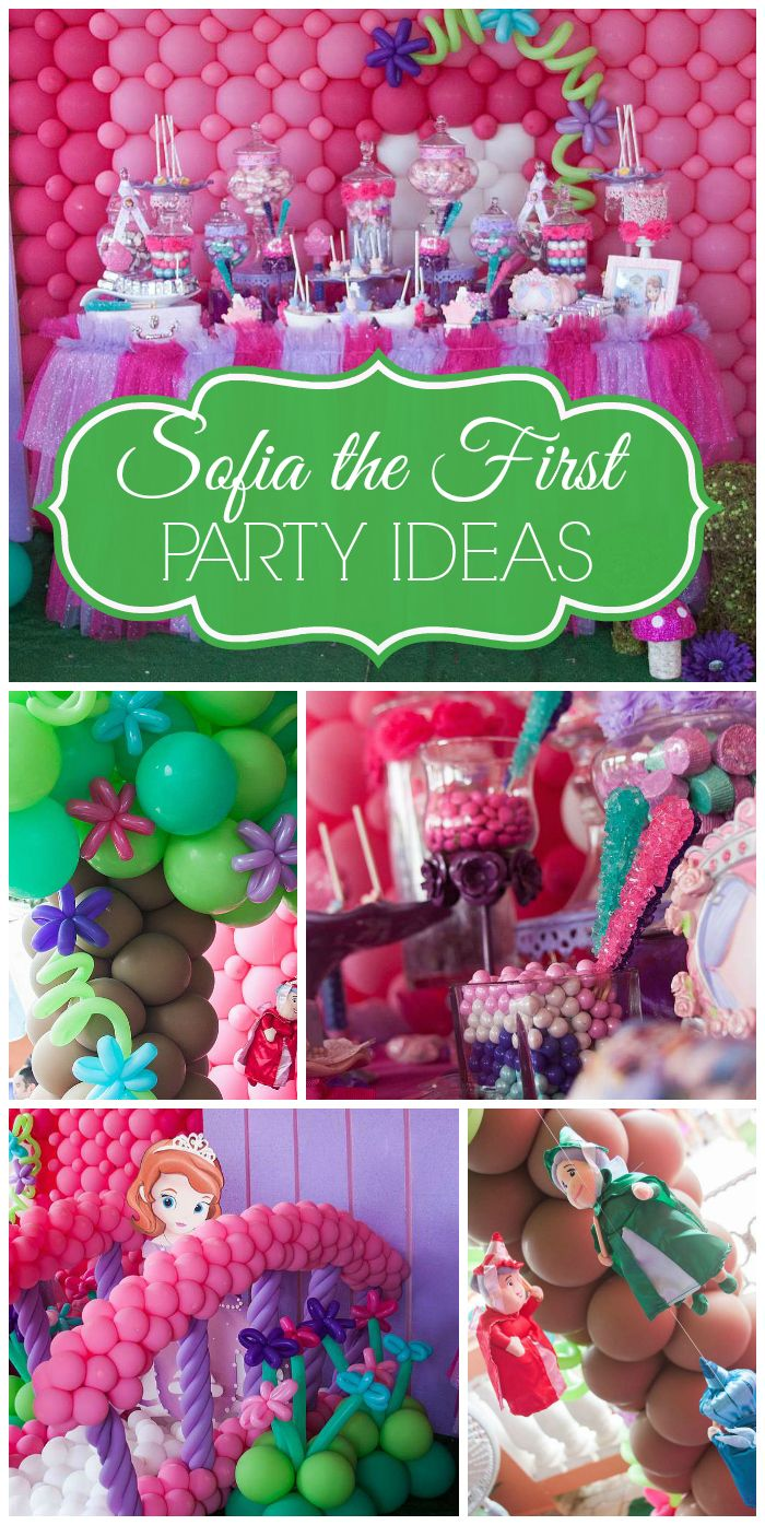 A Sofia the First princess girl birthday party with balloon decorations and a beautiful dessert table!  See more party planning ideas at CatchMyParty.com!