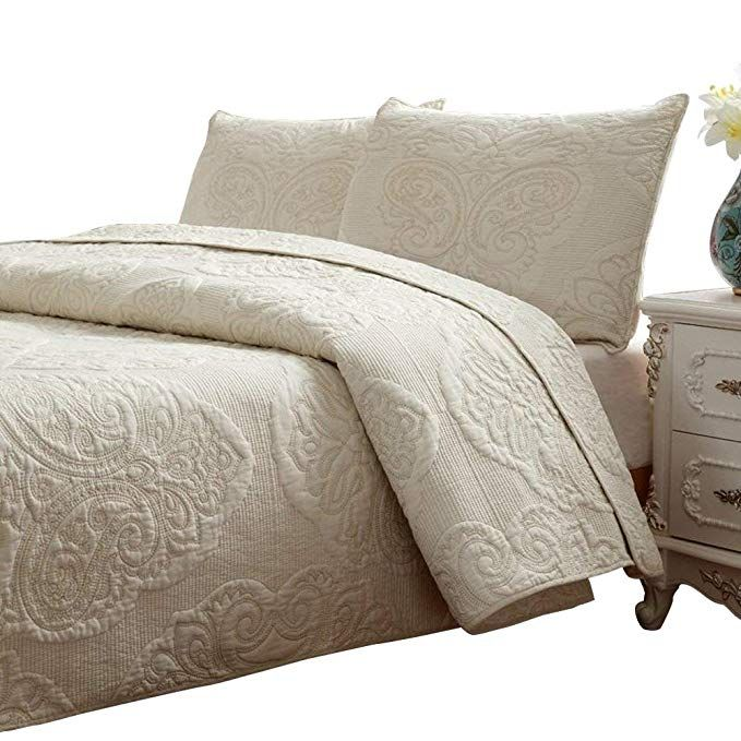 Amazon Com Brandream White Beige Vintage Floral Comforter Set Queen Size Bed Quilt Set Home Kitch Comforter Sets Queen Comforter Sets Floral Comforter Sets