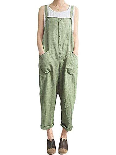 273952c01344 Sobrisah Women Plus Size Overalls Baggy Bib Rompers Casual Wide Leg Pants  Sleeveless Jumpsuit Harem Overalls Pants Green with Button Tag XL