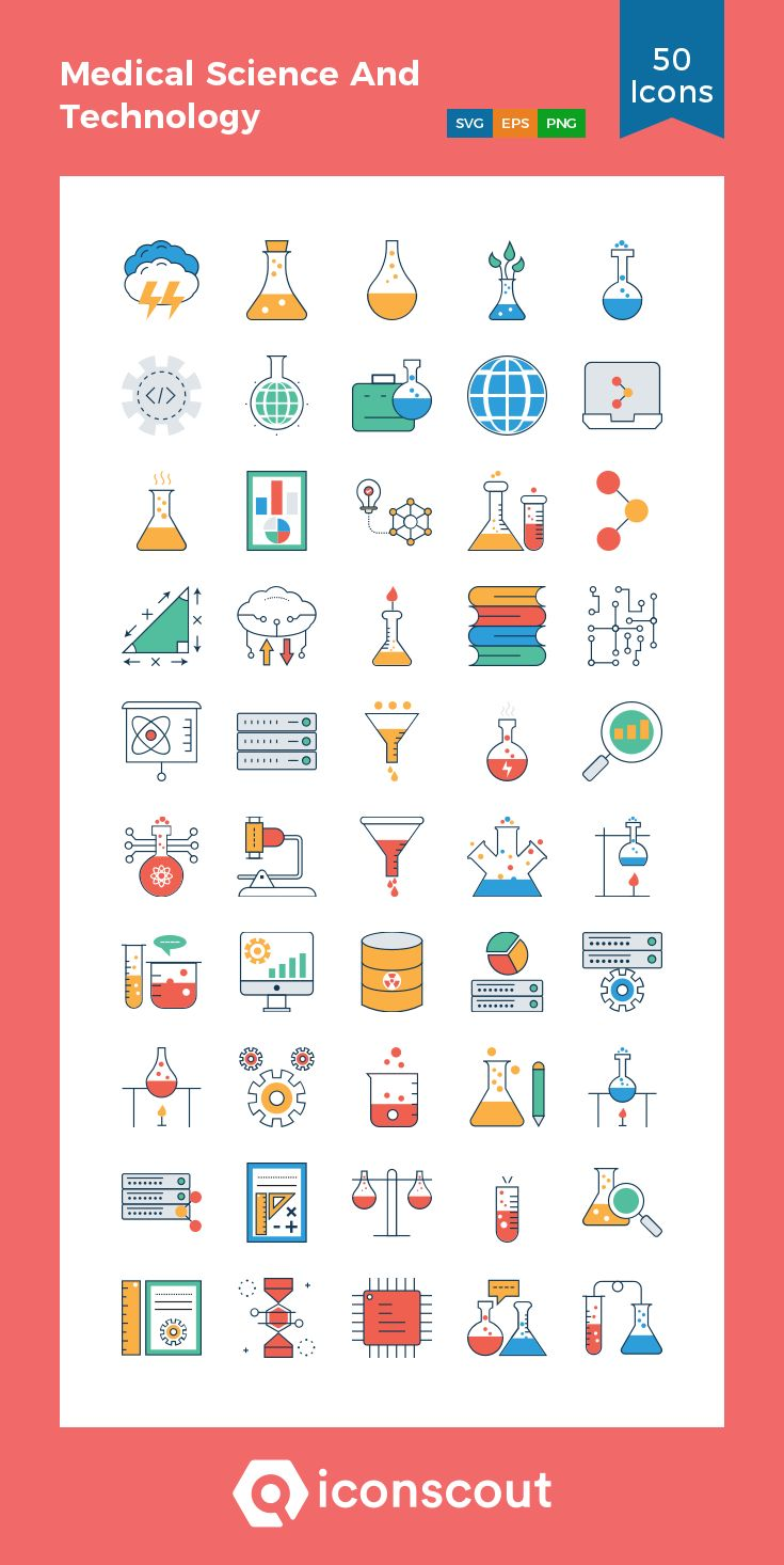 Medical Science And Technology  Icon Pack – 50 Colored Outline Icons