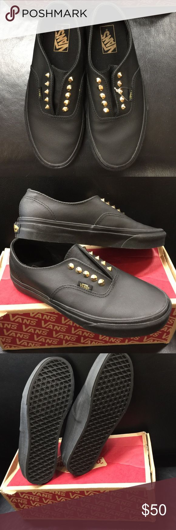 """Leather studded vans Leather, gold studded, """"authentic gore"""" vans. Men's size 7.5 us women's 9. Brand new with tags, never before worn! Comes from pet and smoke free home! Vans Shoes Sneakers"""