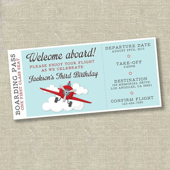 Airplane birthday invitation, airplane ticket invitation, plane ticket…