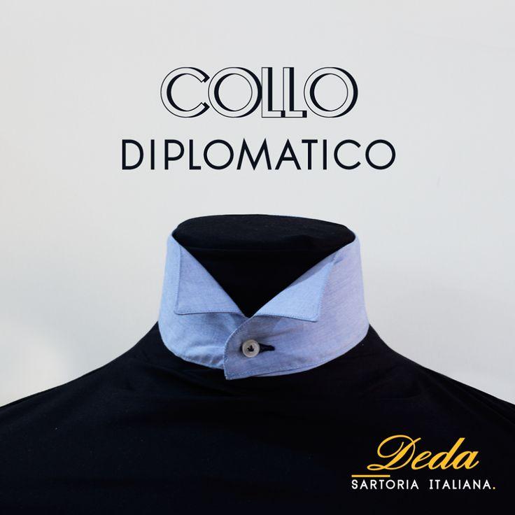 Per occasioni particolarmente raffinate come cerimonie e serate di gala il collo Diplomatico è quello che ci vuole! Rappresenta un must per gli sposi e un dettaglio indispensabile per le situazioni particolarmente eleganti, da smoking. E' perfetto abbinato a cravatta bianca o nera, papillon e ascot. #Deda #camicie #stile #italiano